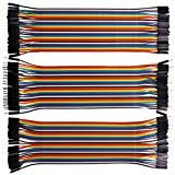 Kuman 120pcs Multicolored 40pin Male to Female, 40pin Male to Male, 40pin Female to Female Breadboard Jumper Wires Ribbon Cables Kit pack K45 - 8 Pin Wire