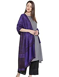 Weavers Villa - Women's Woolen Woven Purple Shawls, Stoles