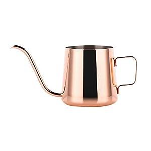 yimosecoxiang 250/350 ml Edelstahl Teekanne Tropfkaffee lange Gießkanne Wasserkocher Küchenwerkzeug Exquisite Anti-Kalk-elegantes Geschenk Nachmittagstee, edelstahl, rose gold, 350ml