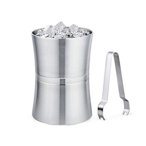 A-Lnice Cubo de Hielo Grande de Doble Pared |Refrigerador Vino del Cubo de Hielo de Champán del Acero Inoxidable con el Clip del Hielo (Size : M)