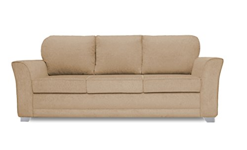 Adorn India Alexia Three Seater Sofa (Beige)