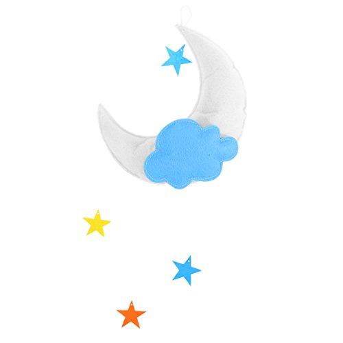 OULII Kinderzimmer Decke Mobile Wolken Mond Sterne Decke hängende Dekorationen für Baby Shower Baby Kinderzimmer (weißer Mond hellblau Wolke Multicolor Stars)