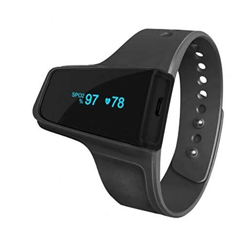 Hochwertiger Uhrenstil Finger-Pulsoximeter - Für Langzeit- / Schlafmonitoring Schwarz,Black