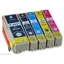 Premier cartuchos 5XL Alta Capacidad Compatible Cartuchos de tinta para Epson XP-510XP-600, XP-605, XP-610, XP-615, XP-700y XP-800e-t2621T2632T2633T2634T2631láser 1x negro 1x negro foto 1x cian 1x Magenta 1x amarillo