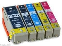Premier 5 cartucce XL ad alta capacità compatibili con cartucce d'inchiostro per EPSON XP-510 XP XP-600, XP-605, XP-610, 615, XP-700, XP-800, T2633 T2634 E-T2621 T2632 T2631-Cartuccia 1 x potenza per foto, colore: nero, 1 x Ciano, 1 x magenta, 1 x Giallo