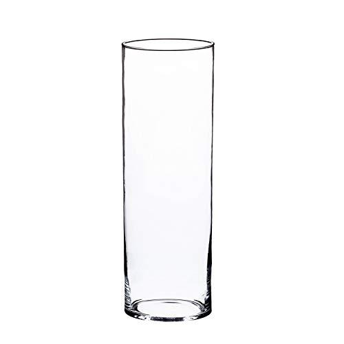 INNA-Glas Zylindrische Glasvase Sansa, transparent, 40cm, Ø 15cm - Bodenvase - Blumen Glas Vase