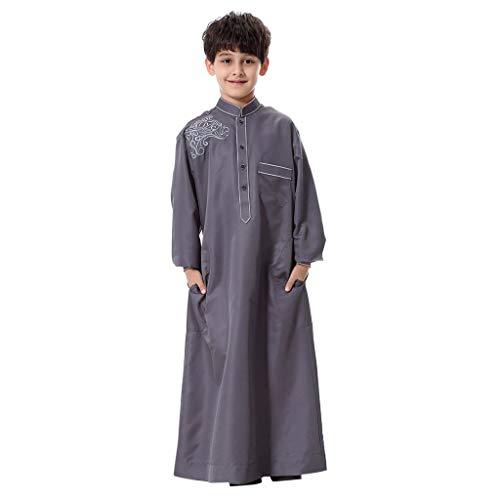 Italily Ragazzo Costume Manica Lunga Vitello Da Indossare Musulmani Arabi Abaya Abito Sceicco Con Camice Lungo Caftano Arabo Bambini Islamico Abaya Robe Casuali Elastica Robe