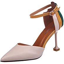 Covermason Zapatos Sandalias mujer verano 2018, tacón alto con punta redonda para mujer
