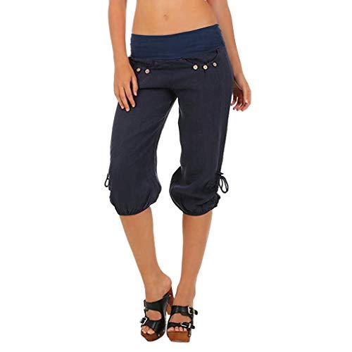 KIMODO® Damen Boho Check Hose mit weitem Bein, elastische Taille Baggy Taschen Sommer Freizeithose Sport Yoga Sieben Punkte Pants