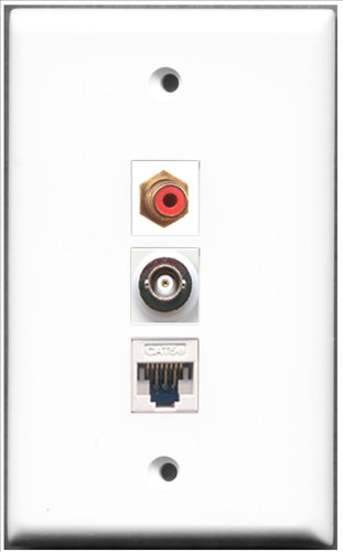 RiteAV-1Port RCA rot und 1Port BNC und 1Port Cat-5e Ethernet White Wall Plate Rca Modular Wall Outlet