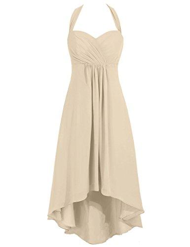 HUINI Damen Kleid champagnerfarben
