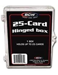 BCW Hinged Box 25 Count - Baseball, Football, Basketball, Hockey, Golf, Single Sports Cards Top Load - Sportcards Card Collecting Supplies by BCW