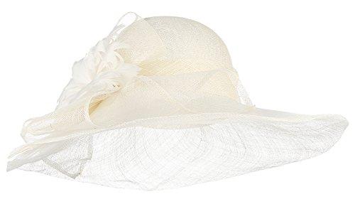 GEMVIE Damen Fascinator Vintage Mini Hut Braut Hut Blumen Haarreif Haarschmuck Beige