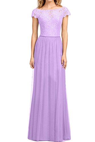 Ivydressing Damen Elegant Arm Spitze Abendkleider A-Linie Promkleid Partykleid Ballkleider Lila