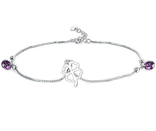 Beglie Damen Fußkettchen 925 Sterling Silber Hohl Klee Charm Knöchel Armband Silber Geschenk für Damen