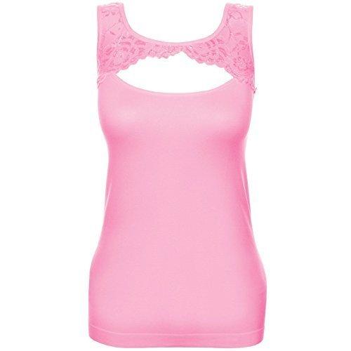 Femmes Débardeur Push Up Haut Shirt avec dentelle dehors Tissu de velours intérieur haut 20652 Rose