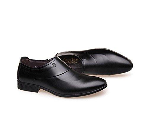 GRRONG Herren Leder Schuhe Echtes Leder Spitz Business Formal Kleid Schwarz Braun Black