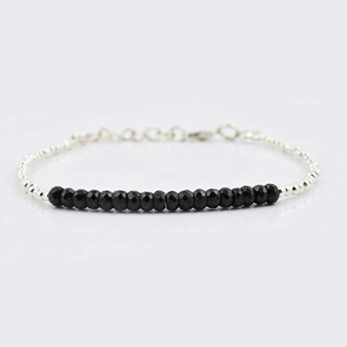 Black Spinell Perlen Bar Armband mit Sterling Silber Perlen & Schmuckzubehör 6.50