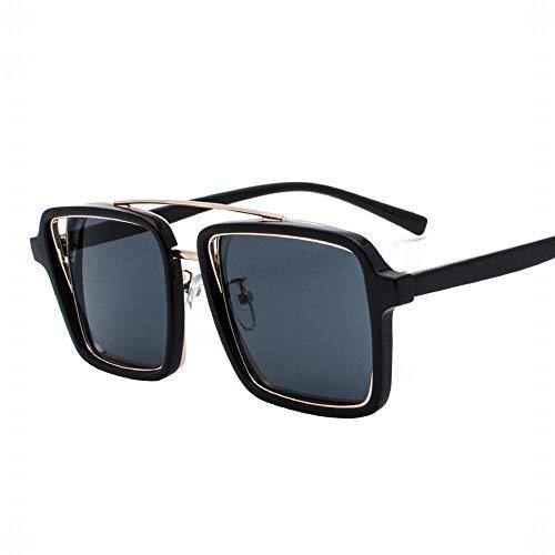 KERVINFENDRIYUN YY4 Fashion Square Flat Lens Glasses Large Glasses Frame für Frauen (Farbe : Black Gray)