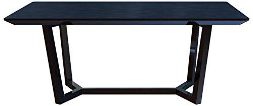 CAVADORE Esszimmertisch JOY 160 cm / Formschöner Speisezimmertisch mit matter, schwarz lackierter Glasplatte auf schwarz lackierter Holz-Optik /...