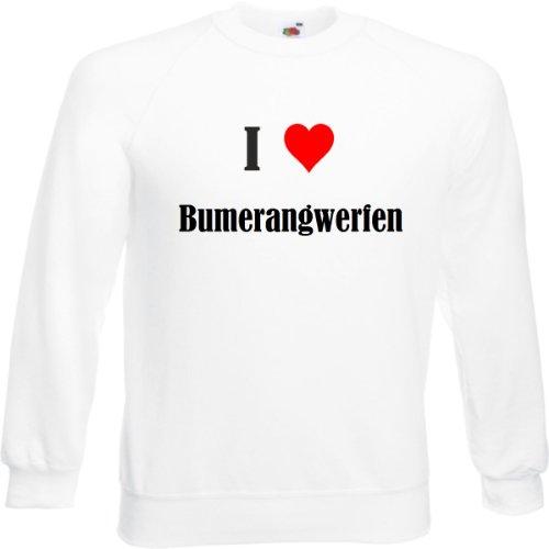 """Sweatshirt""""I Love Bumerangwerfen""""Größe""""2XL""""Farbe""""Weiss""""Druck""""Schwarz"""