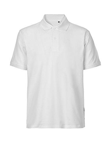 -Green Cat- Herren Poloshirt Classic, 100% Bio-Baumwolle. Fairtrade, Oeko-Tex und Ecolabel zertifiziert Weiß