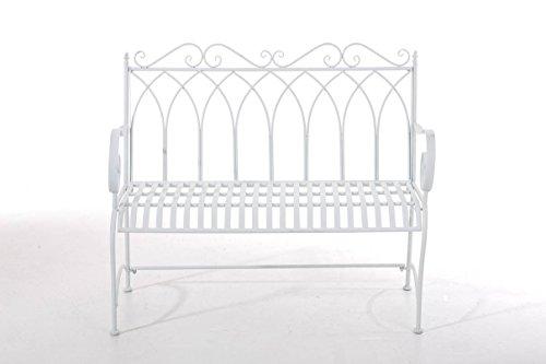 CLP Gartenbank DIVAN im Landhausstil, aus lackiertem Eisen, 106 x 51 cm – aus bis zu 6 Farben wählen Weiß - 2