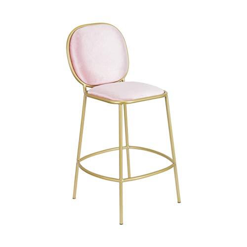 YUiiTI Tee Shop Bar Stuhl, Balkon Terrasse Hoher Hocker Haushalt Esstisch Stuhl Eisen Kunst Tuch Mit Rückenlehne Barhocker Höhe 72 cm Rutschfester Sitz (Color : Pink) (Tee Grüner Make-up-tücher)