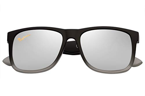 Capraia Rovello Classic Sunglasses Ultra Light High Quality TR90 Sporty Matt Black to Grey Frame and Silver Mirrored Polarised Lenses UV400 protected for Men