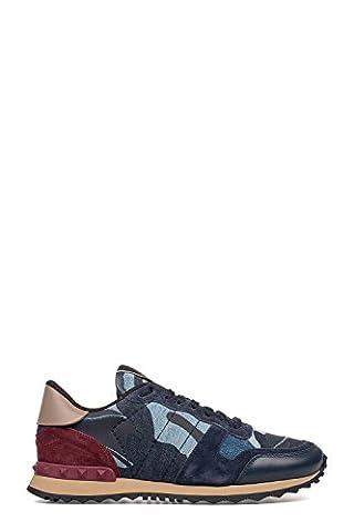 Valentino Garavani Herren Ky0s0723dnc0aco Blau/Bordeauxrot Leder Sneakers