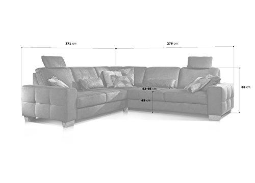 Cavadore Ecksofa Puccino mit Federkern, Schlaffunktion, verstellbaren Sitztiefen und 2 Kopfstützen, Couch gleichschenklig in L-Form im Landhausstil, 276 x 86 x 271 cm, Mikrofaser braun