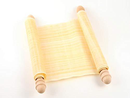 Schriftrolle Papyrusrolle beschreiben - Papyrus mit Holzstangen 90x30cm - Gutschein klein - Geschenkidee Hochzeit-Rolle für Hochzeitseinladungen + Hochzeits-Deko - Papyri Hochzeitskarte groß Papyruspflanze