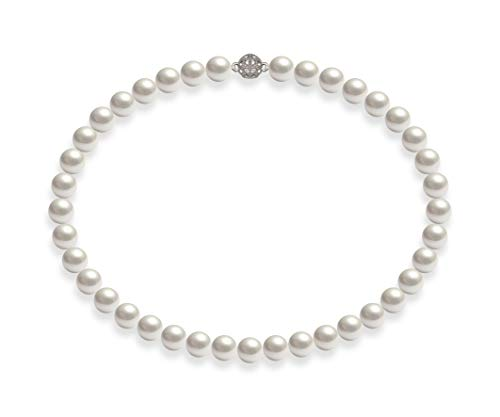 Schmuckwilly Perlenkette Damen Muschelkernperlenkette Weiß Magnetverschluß Hochwertige Perlen Collier Halskette Modeschmuck 42CM dmk1017-42 (10mm)