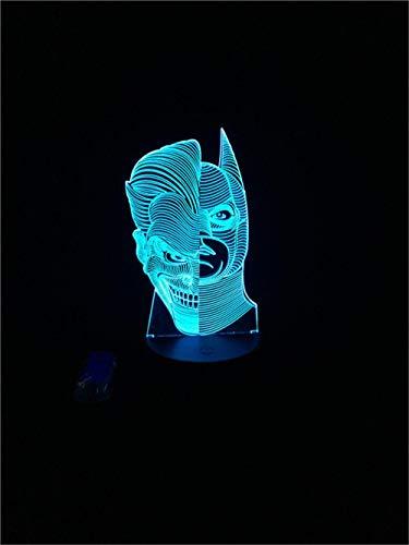 ARXYD 16 Farben Nachtlicht Tischlampe 16 Farbe Nachtlicht Clownwitz-Schlägerbirnenmehrfarbenlampenausgangsdekorationskindergeschenk-Nachtlicht des Gesichtes der Zeichentrickfilm-Figur zwei Nachtlicht