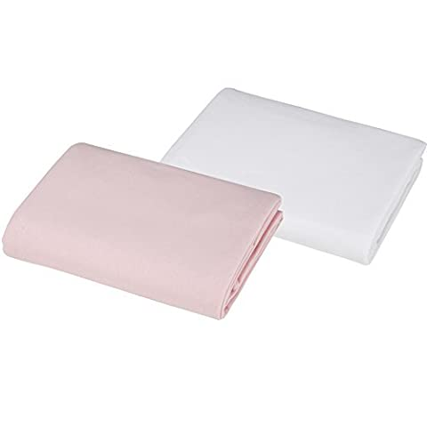 BH Bedding 100% Cotton Value Jersey Knit Crib Sheet, 2 Pack - Pink/White