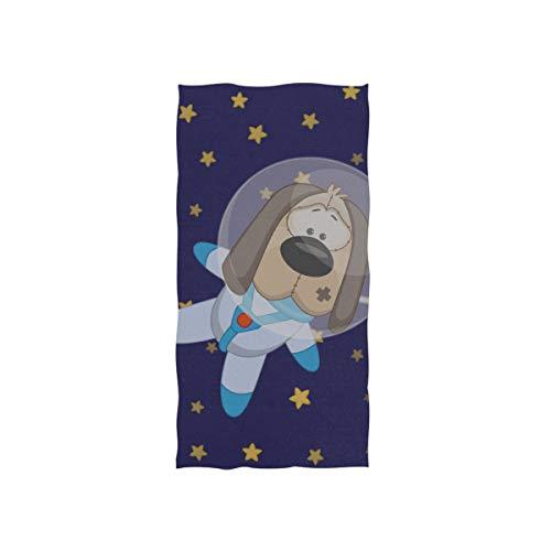 Raum Astronaut Welpe Hund Soft Spa Strand Badetuch Fingerspitze Handtuch Waschlappen Für Baby Erwachsene Badezimmer Strand Dusche Wrap Hotel Travel Gym Sport 30x15 Zoll - Faser-ergänzung Kapseln