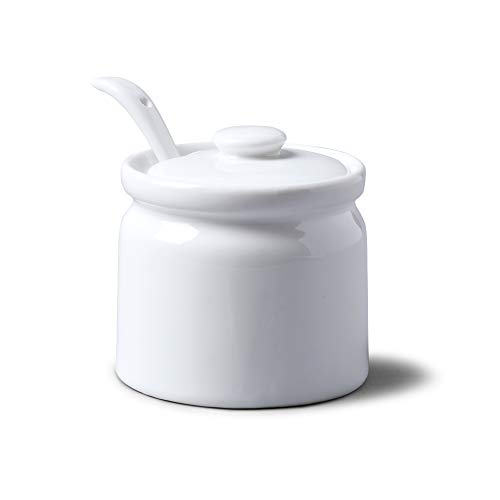 WM 1750 Bartleet & ‿Sons Pot en porcelaine avec couvercle et cuillère, blanc, 8cm