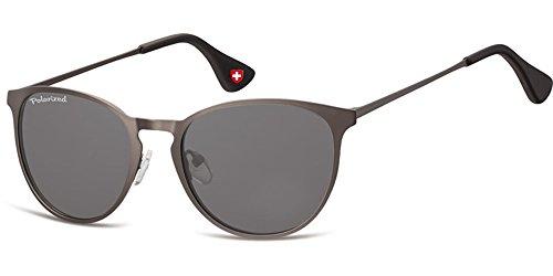 Demel Augenoptik Moderne Sonnenbrille für Damen und Herren - Polarisierte Gläser mit UV400-Schutz - Inklusive Brillenetui und Mikrofasertuch Modell: MP88 (Silber)