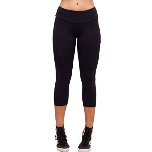 Ukamshop Les femmes nouveau tronçon YOGA course Pantalons / Leggings de manière significative mince Noir