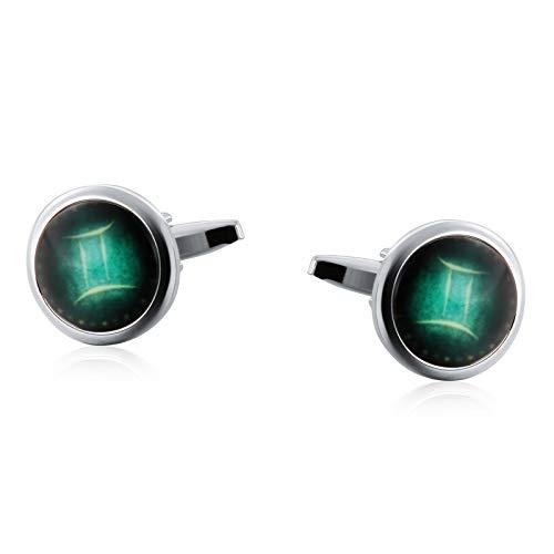 Aienid gemelli per camicia uomo acciaio oro pietra di costellazione luminosa ovale argento verde gemelli per uomo