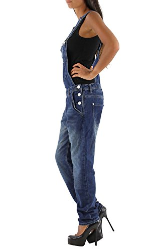 Damen Jeans Hose Baggy Boyfriend Latzhose Latzjeans Jumpsuit Overall Hüftjeans Blau