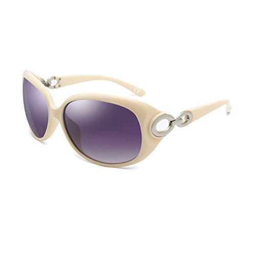 BVAGSS Mode Klassisch Groß Damen Sonnenbrille Polarisiert 100% UV-Schutz Brillen WS033 (Beige Frame Purple Gray Lens)