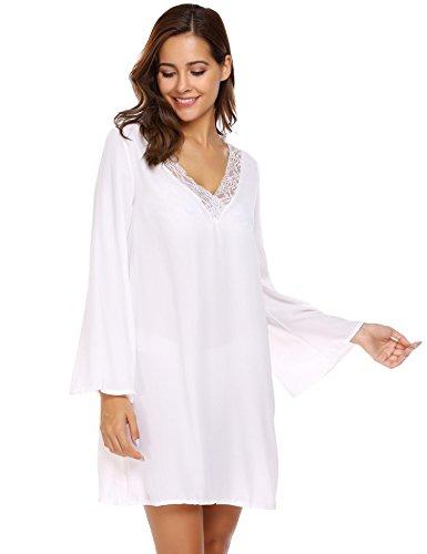 Zeela Damen Herbst Kleid Lockeres Langarm Spitzenkleid Beiläufiges Kleid V Ausschnitt Trompetenärmel Chiffonkleid Mini (Elegante Mini-kleid Momente,)