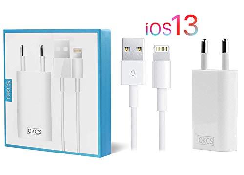 OKCS Ladeset - USB Ladekabel 2 Meter + 1A Netzteil kompatibel mit iPhone 11, 11 Max, 11 Pro, XR, XS, XS Max, X, 8, 8 Plus, 7, 7 Plus, 6, 6 Plus, 6s, 6s Plus, 5, 5s, 5c - White