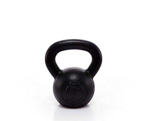 Suprfit Econ Kettlebell - Kugelhantel aus Gusseisen fürs Krafttraining und Cross Training, Gewicht: 12 kg, Schwunghantel geeigent zum Reißen, Stoßen und Drücken, Schwarz lackiert