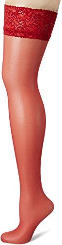 Fiore Damen MILENA/OBSESSION Halterlose Strümpfe, 20 DEN, Rot (Red 024), Small (Herstellergröße:2)