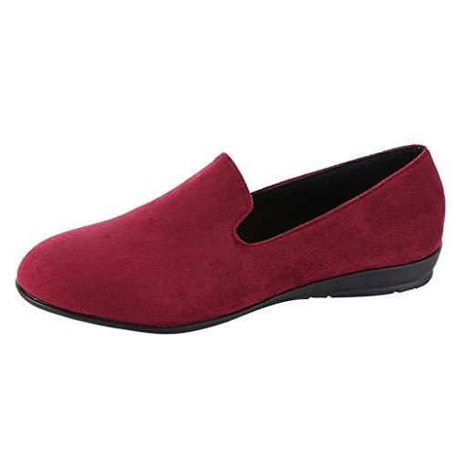 Freizeitschuhe Damen,ABsoar Wildleder Slip-On Schuhe der Mode Spitzen Sandalen Starke Lässig Hausschuhe Rutschfeste Flache Einzelne Schuhe Erbsen Bootsschuhe Arbeitsschuhe 35-43