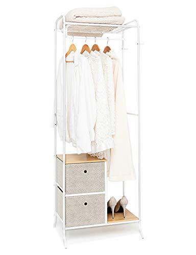 Suhu Fahrbarer Kleiderständer Metall mit 2 Schubladen aus Stoff Garderobenständer mit Haken Garderobe Offenes Hängeregal Kleiderstange Schuhregal für Vorzimmer Flur Holz+Stahl Weiß+Eichenfarbe