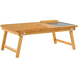 SONGMICS Table d'Ordinateur Pliable, Support d'Ordinateur, Bambou Naturel, Tablette Réglable, Encoche, Tiroir, 55 x 35 x 23cm LLD006