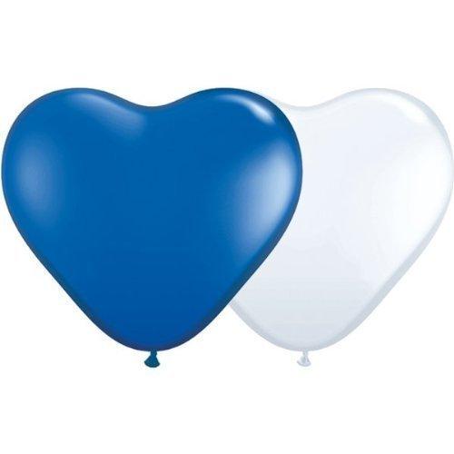 partydiscount24 Herzballons Blau-Weiß Ø 25 cm 50 Stück -